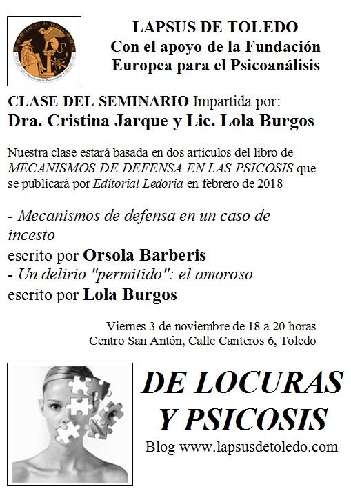 """https://www.toledo.es/wp-content/uploads/2017/10/clase-3-noviembre.jpg. Seminario de Psicoanálisis """"De locuras y psicosis"""""""