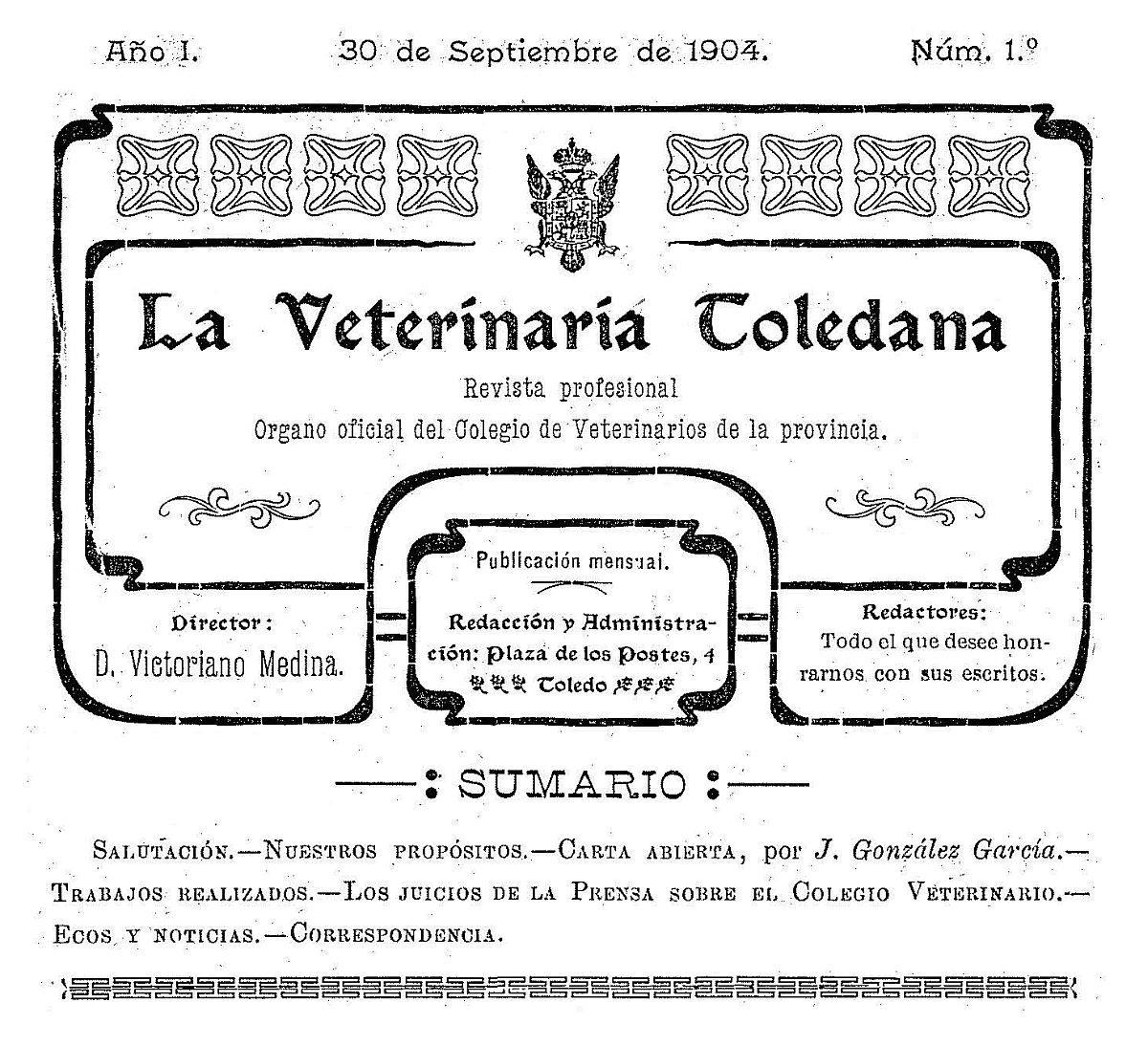 https://www.toledo.es/wp-content/uploads/2017/10/la-veterinaria-toledana-detalle-de-la-portada-del-primer-numero-de-1904-1-1200x1094.jpg. La Veterinaria Toledana : In memoriam de Santiago Medina Díaz-Marta