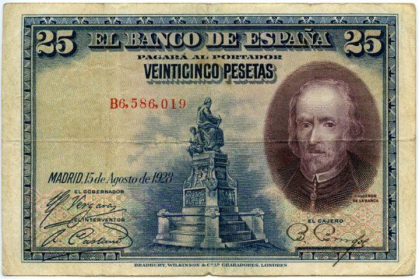 1_Billete de 25 pesetas - Calderón de la Barca