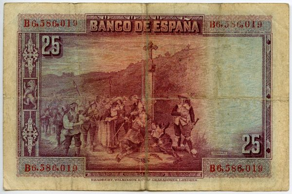 1v_Billete de 25 pesetas - La devoción de la Cruz - Domingo Muñoz