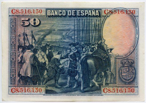 2v_Billete de 50 pesetas - La rendición de Breda - Diego Velázquez
