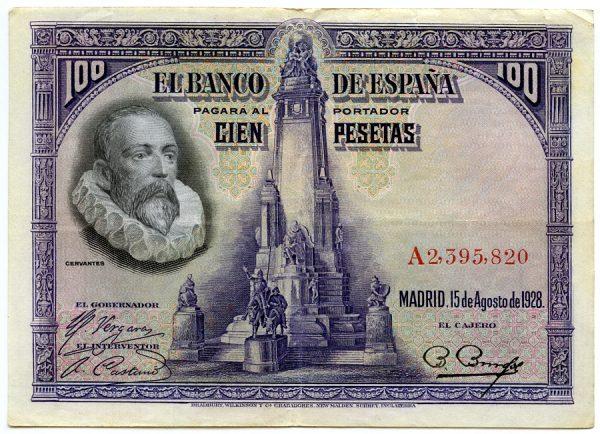 3_Billete de 100 pesetas - Miguel de Cervantes