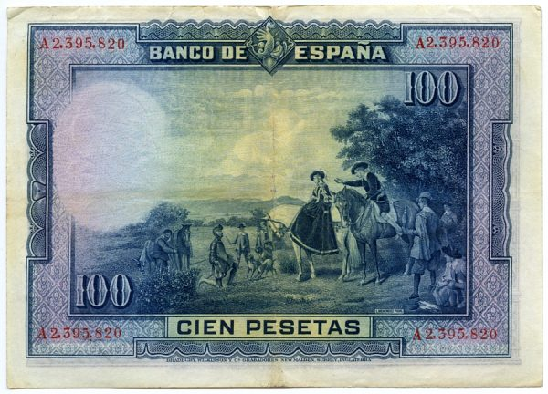 3v_Billetede de 100 pesetas - Don Quijote ante los Duques - Juan Menéndez Pidal