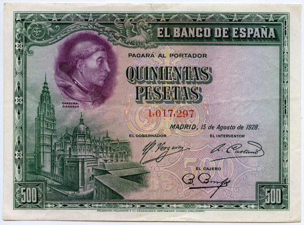 4_Billete de 500 pesetas - Retrato del Cardenal Cisneros