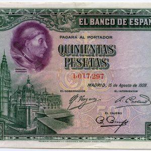 oledo, el Cardenal Cisneros y los billetes de 500 pesetas