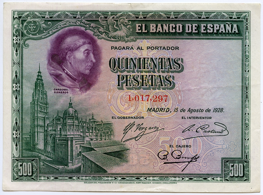 http://www.toledo.es/wp-content/uploads/2017/11/4_billete-de-500-pesetas-retrato-del-cardenal-cisneros.jpg. Toledo, el Cardenal Cisneros y los billetes de 500 pesetas