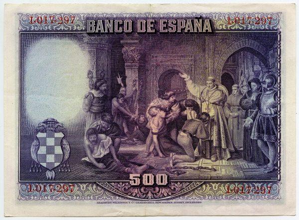 4v_Billete de 500 pesetas - Liberación de los cautivos de Túnez por Francisco Jover Casanova