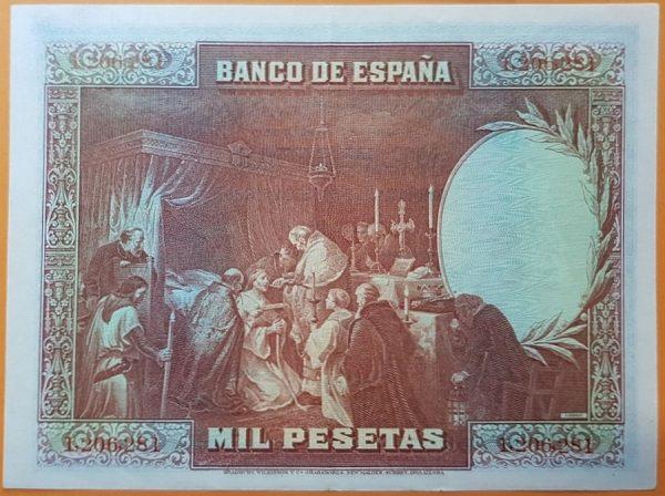 5v_Billete de 1000 pesetas - La última comunión de San Fernando, óleo de Alejandro Ferrant y Fischermans