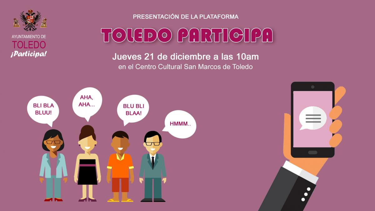http://www.toledo.es/wp-content/uploads/2017/12/kuorum-presentacion-toledo-participa-1-1200x675.png. Presentación de la herramienta de participación digital del Ayuntamiento de Toledo
