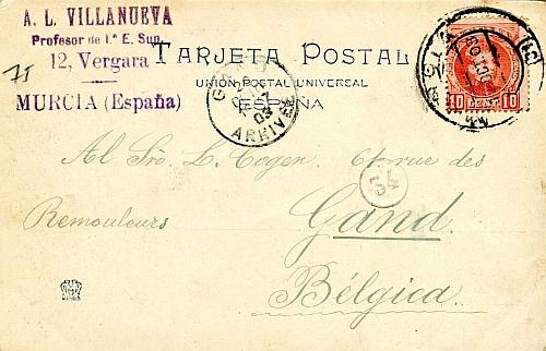 A Gante (BÉLGICA) (1903)_Reverso