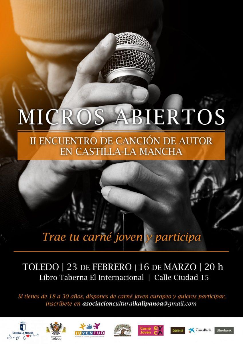 """http://www.toledo.es/wp-content/uploads/2018/02/cartelmicrosabiertos2018_to-849x1200.jpg. """"II Encuentro de Canción de Autor"""" y """"Micros abiertos"""""""