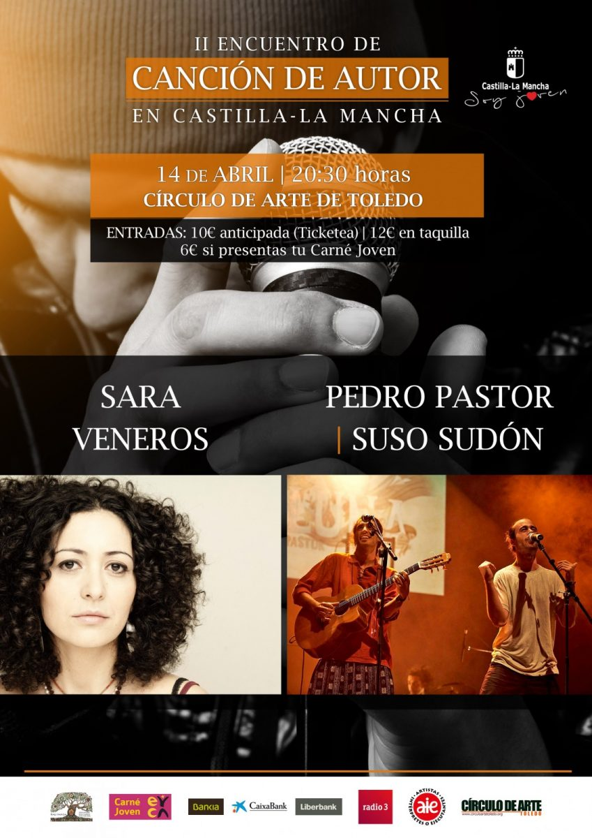 http://www.toledo.es/wp-content/uploads/2018/02/concierto14abril_cancionautor2018-849x1200.jpg. Concierto de SARA VENEROS, PEDRO PASTOR Y SUSO SUDÓN ( II Encuentro de Canción de Autor)