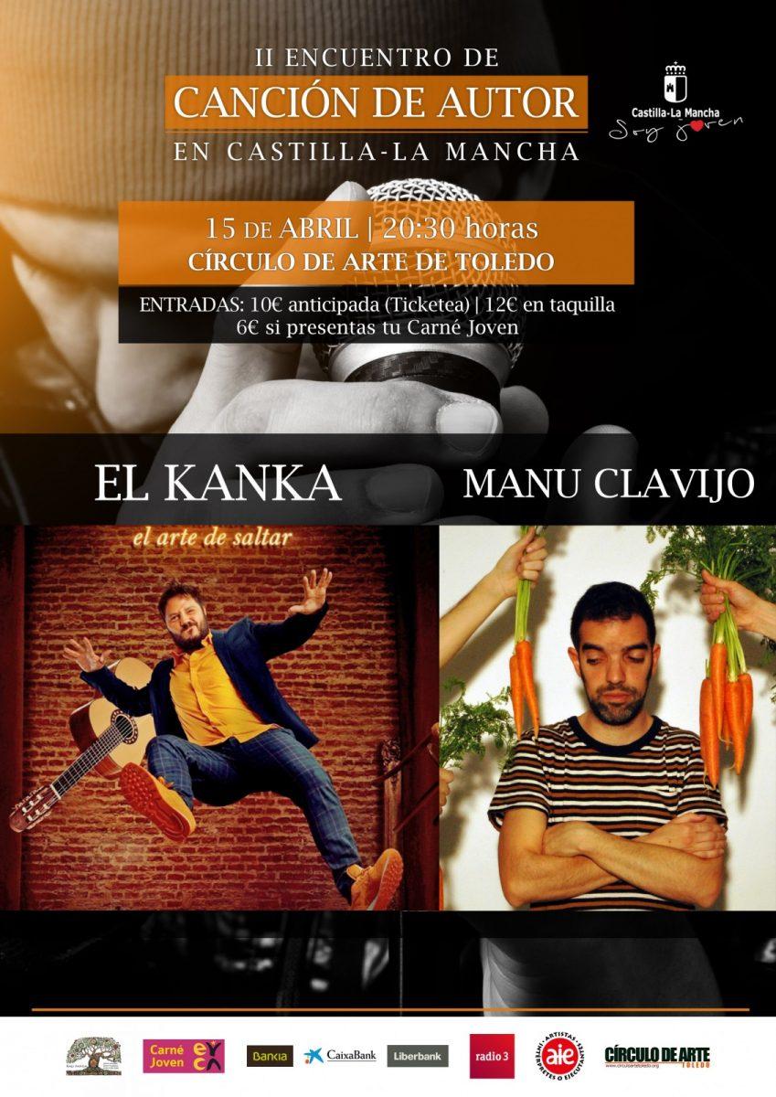 http://www.toledo.es/wp-content/uploads/2018/02/concierto15abril_cancionautor2018-849x1200.jpg. Concierto de MANU CLAVIJO Y EL KANKA ( II Encuentro de Canción de Autor)