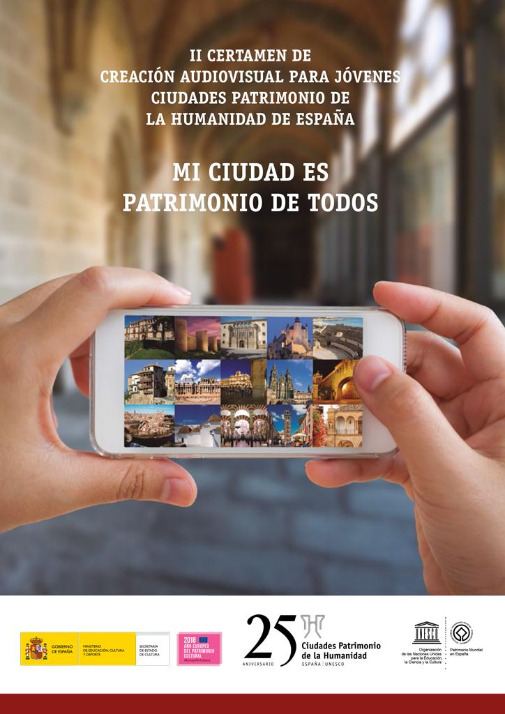 http://www.toledo.es/wp-content/uploads/2018/02/concurso-audiovisual-cartel.jpg. El próximo 1 de junio finaliza el plazo para presentar obras audiovisuales al II Certamen del Grupo Ciudades Patrimonio