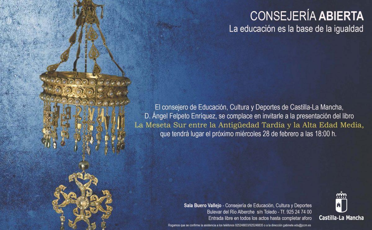 """http://www.toledo.es/wp-content/uploads/2018/02/presentacion-del-libro-la-meseta-sur-entre-la-antigueedad-tardia-y-la-alta-edad-media-28-02-2018-1200x743.jpg. Consejería Abierta. Presentación del libro """"La Meseta Sur entre la Antigüedad Tardía y la Alta Edad Media"""""""