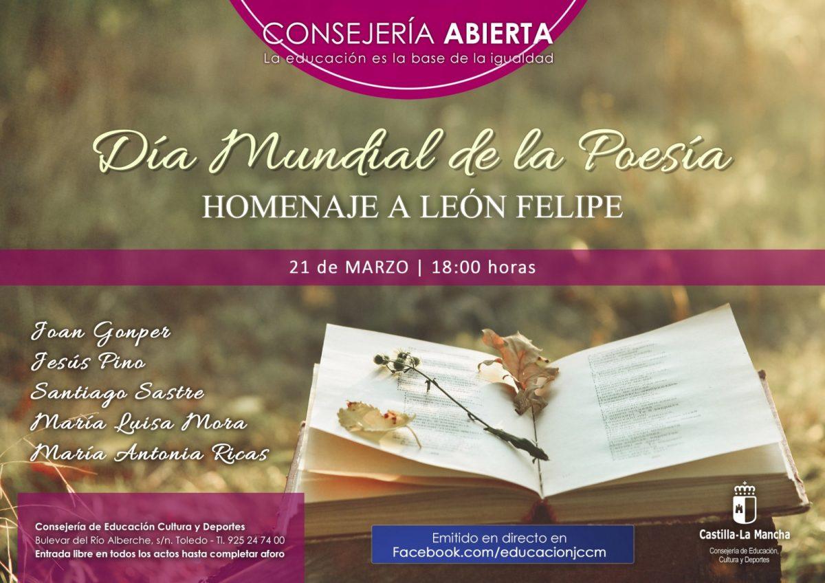 https://www.toledo.es/wp-content/uploads/2018/03/consejeria-abierta-dia-mundial-de-la-poesia-21-03-2018-1200x848.jpg. Consejería Abierta. Día Mundial de la Poesía. Homenaje a León Felipe