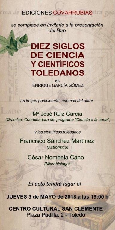 """Presentación del libro """"Diez siglos de ciencia y científicos toledanos"""", de Enrique García Gómez."""
