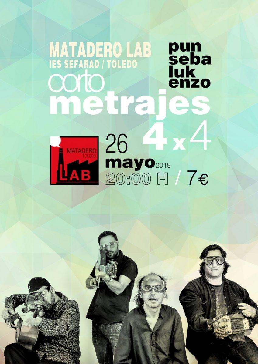 "http://www.toledo.es/wp-content/uploads/2018/04/punsebalukenzo-poster-white-4x4-film-matadero-may-2018-002-849x1200.jpg. Concierto PUNSABELUKENZO. ""4 x 4- Cortrometrajes"". Musicalización de cine mudo."