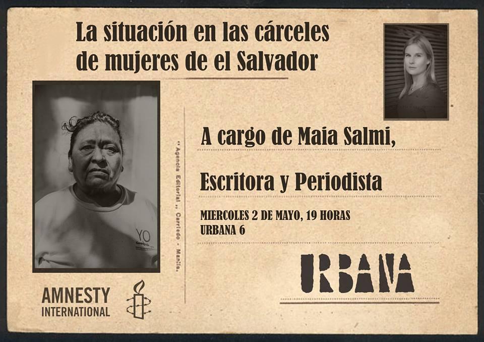 """http://www.toledo.es/wp-content/uploads/2018/04/urbana-6.jpg. Conferencia """"La situación en las cárceles de las mujeres de El Salvador"""""""
