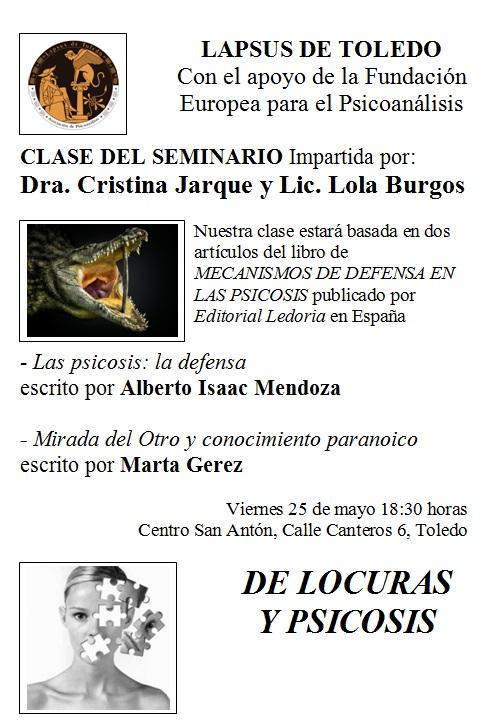 """https://www.toledo.es/wp-content/uploads/2018/05/clase-25-mayo.jpg. Seminario de Psicoanálisis """"De locuras y psicosis"""""""
