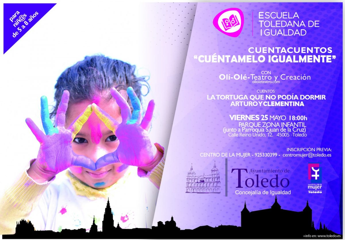 http://www.toledo.es/wp-content/uploads/2018/05/cuentacuentos-25-mayo-0-1200x835.jpg. Cuentacuentos de la Escuela Toledana de Igualdad.  Cuéntamelo Igualmente (25 de mayo de 2018)