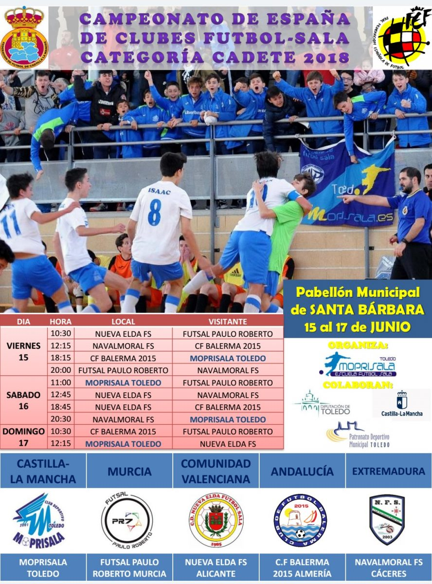 http://www.toledo.es/wp-content/uploads/2018/06/cartel-campeonato-de-espana-888x1200.jpg. Campeonato de España Cadete de Fútbol Sala – Grupo A