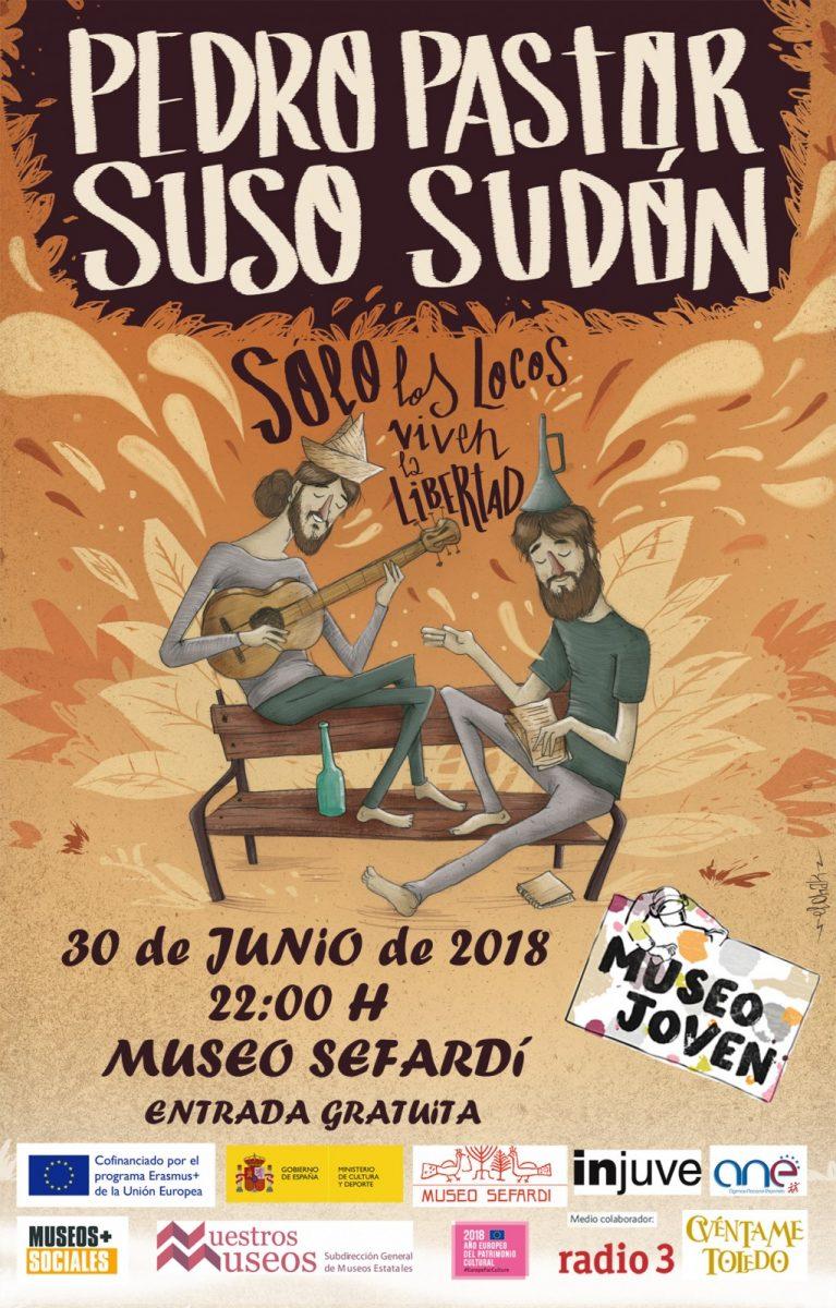 """https://www.toledo.es/wp-content/uploads/2018/06/cartel-concierto-con-logos-767x1200.jpg. Concierto Pedro Pastor y Suso Sudón """"Solo los locos viven en libertad""""."""