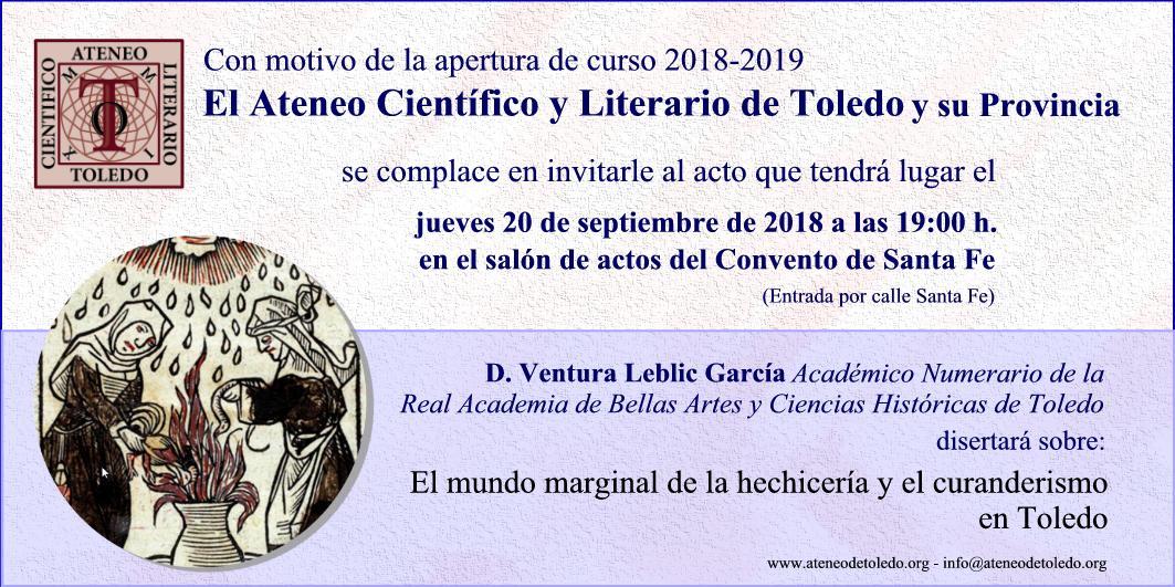 Apertura del curso Ateneo Científico y Literario de Toledo 2018 – 2019