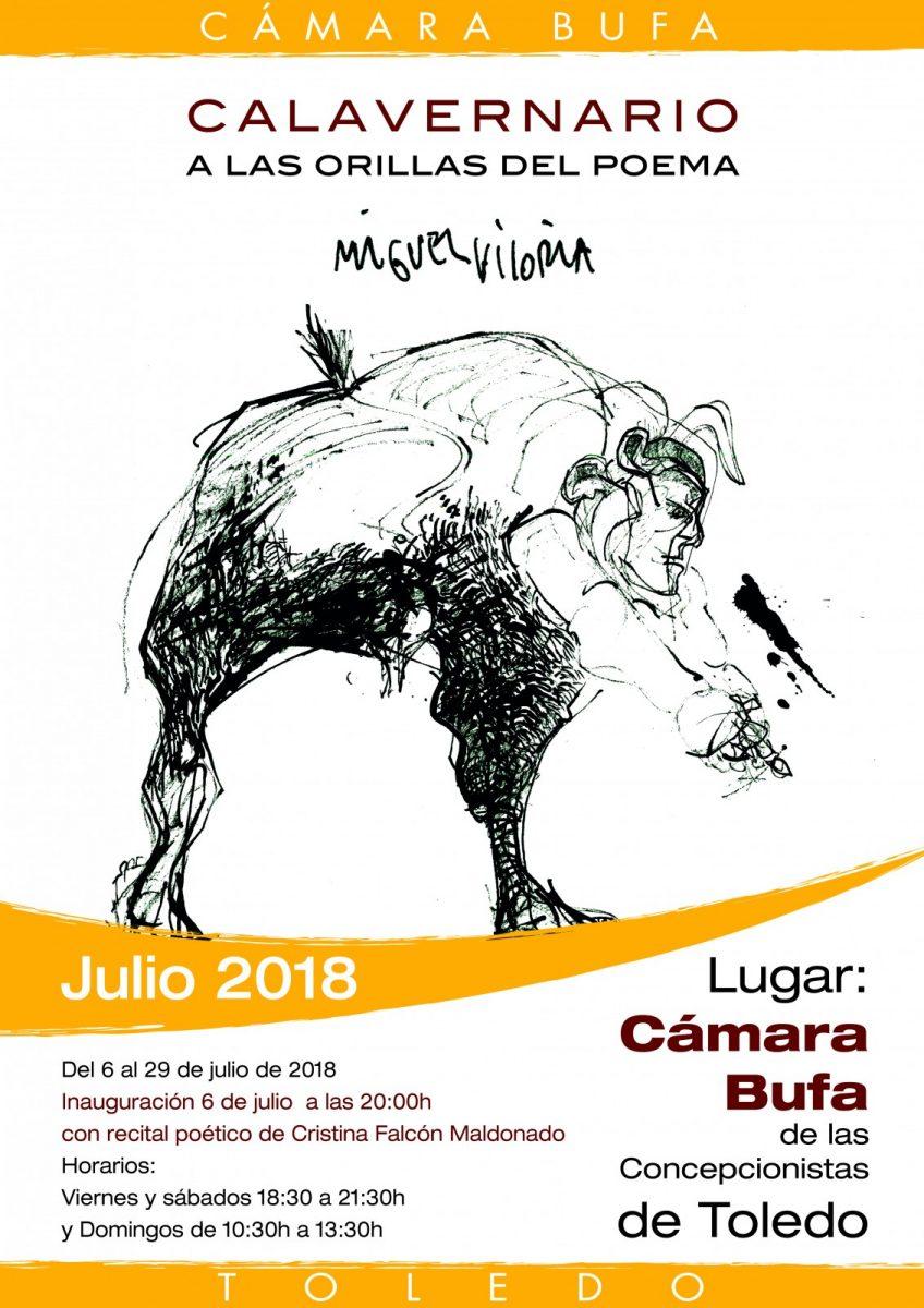 https://www.toledo.es/wp-content/uploads/2018/07/expo-miguel-viloria-camara-bufa-2018-848x1200.jpg. Exposición Calavernario. A orillas del poema