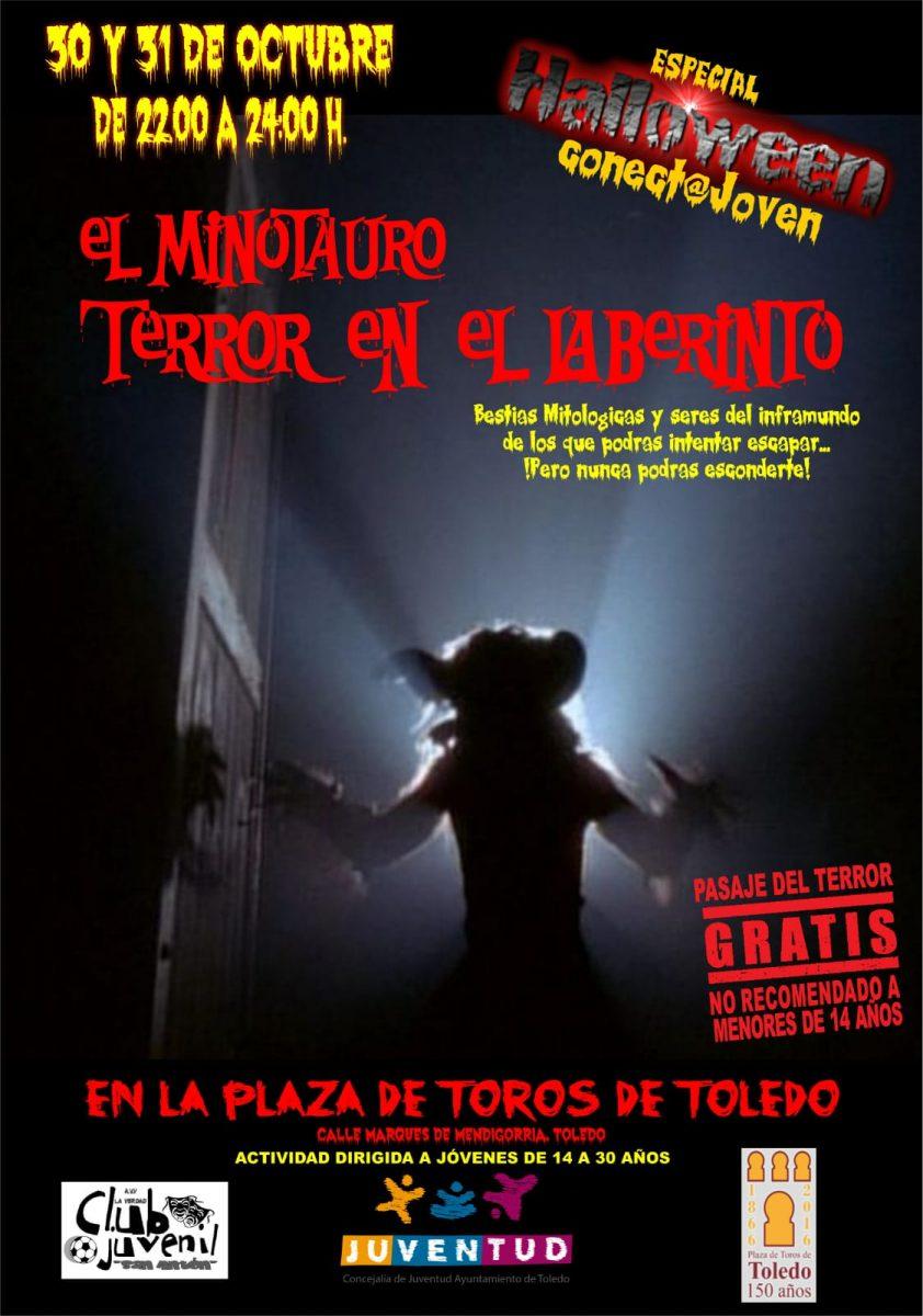 """http://www.toledo.es/wp-content/uploads/2018/10/img-20181016-wa0006-842x1200.jpg. Pasaje del Terror """"El minotauro, terror en el laberinto"""""""