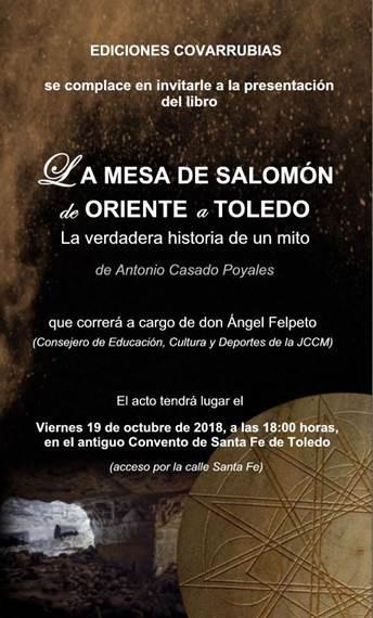 """Presentación libro """"La mesa de Salomón, de Oriente a Toledo"""""""