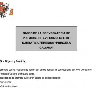 El Ayuntamiento abre la nueva convocatoria de los Premios Princesa Galiana de novela corta hasta el 19 de octubre