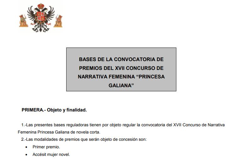 https://www.toledo.es/wp-content/uploads/2018/10/sin-titulo.png. El Ayuntamiento abre la nueva convocatoria de los Premios Princesa Galiana de novela corta hasta el 19 de octubre