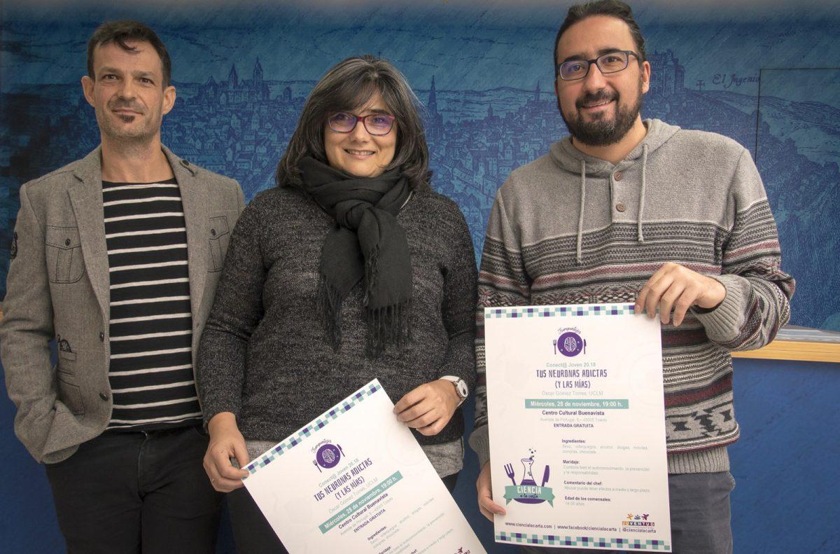 http://www.toledo.es/wp-content/uploads/2018/11/01-presentacion_ciencia_alacarta-1200x791.jpg. El Ayuntamiento da a conocer a los jóvenes cómo prevenir las adicciones con una charla de 'Ciencia a la Carta' en Buenavista