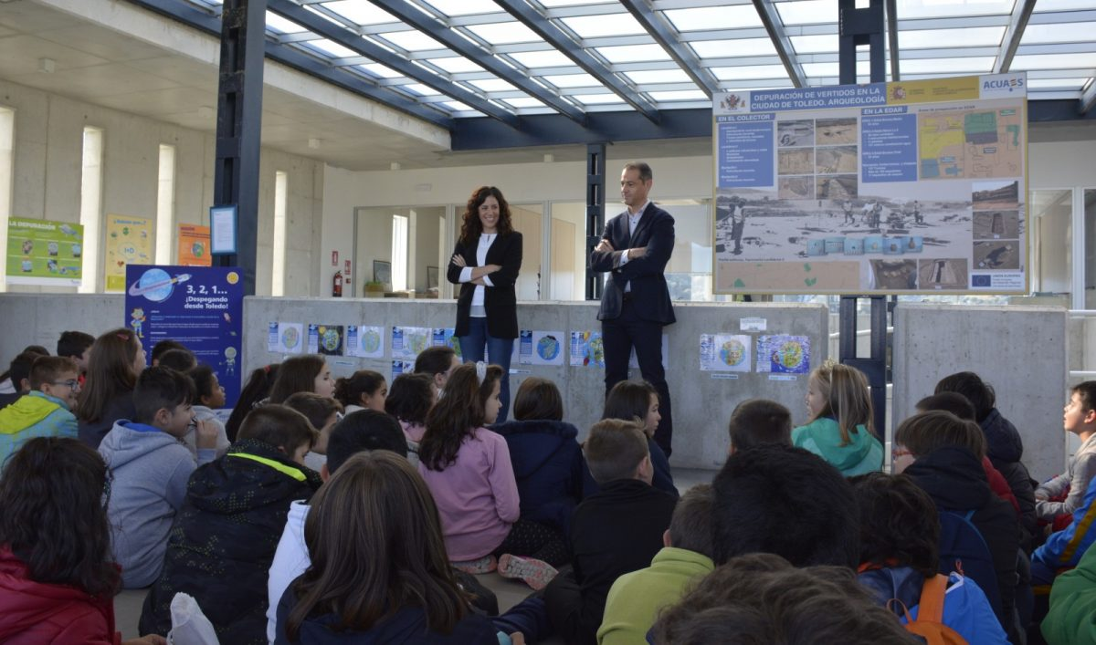 Escolares del 'Ciudad de Nara' y 'Gregorio Marañón' visitan la Depuradora de Estiviel gracias al certamen 'Misión Depuración'
