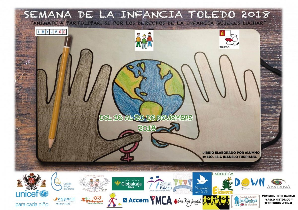 """http://www.toledo.es/wp-content/uploads/2018/11/cartel-semana-de-la-infancia-1200x848.jpg. SEMANA DE LA INFANCIA 2018. """"ANIMATE A PARTICIPAR, SI POR LOS DERECHOS DE LA INFANCIA QUIERES LUCHAR"""""""