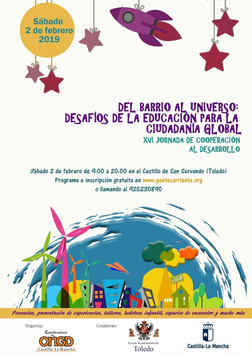 """http://www.toledo.es/wp-content/uploads/2018/12/cartel-jornadas-educacion-para-el-desarrollo-848x1200.jpg. XVI Jornadas de cooperación al desarrollo: """"Del barrio al universo: desafíos para la educación para la ciudadanía global"""""""