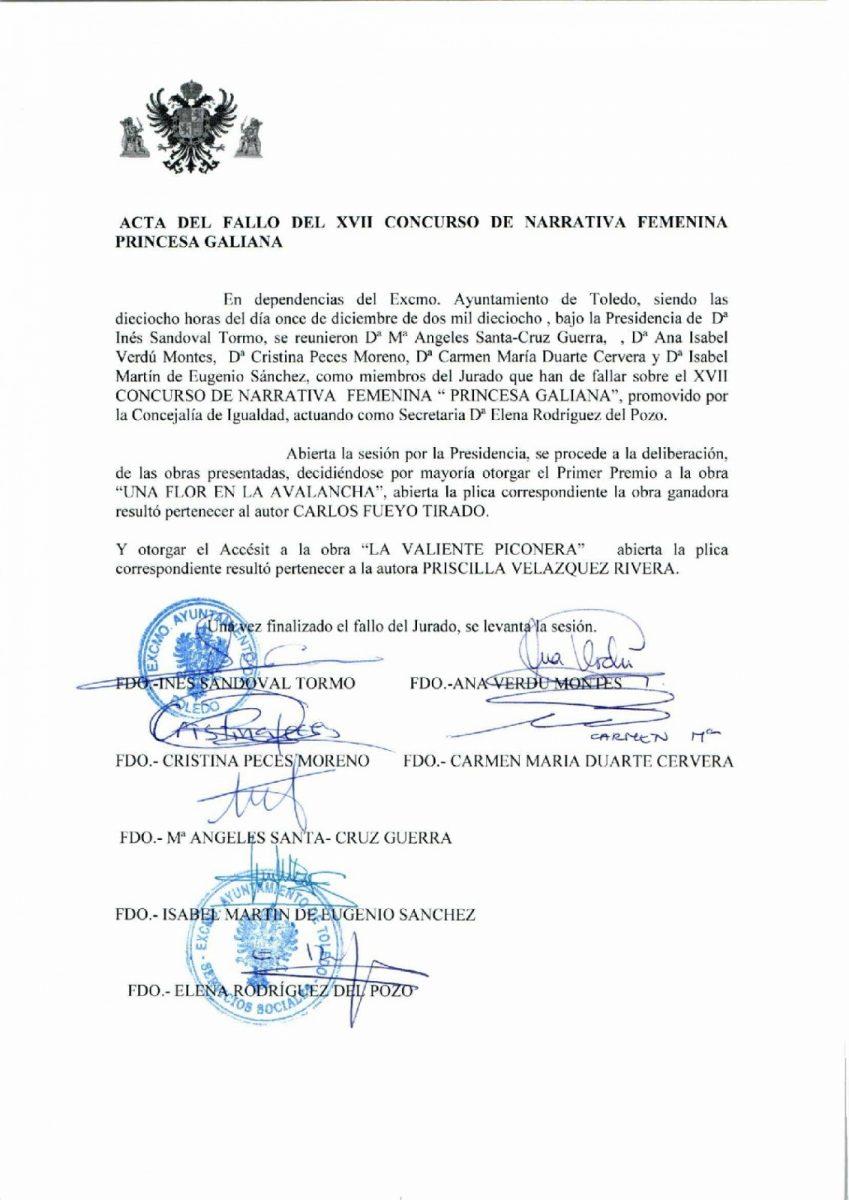 """http://www.toledo.es/wp-content/uploads/2019/01/acta-fallo-xvii-princesa-galiana-001-849x1200.jpg. ACTA FALLO XVII CONCURSO NARRATIVA FEMENINA """"PRINCESA GALIANA"""""""
