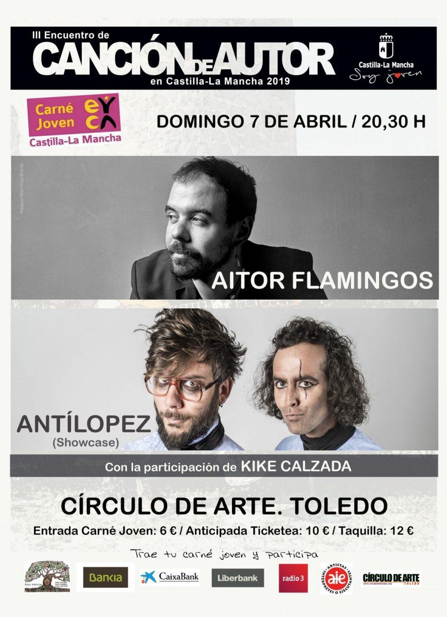 https://www.toledo.es/wp-content/uploads/2019/02/antilopezaitporp-869x1200.jpg. III Encuentro de Canción de Autor: Concierto Kike Calzada; Aitor Flamingos y Antílopez