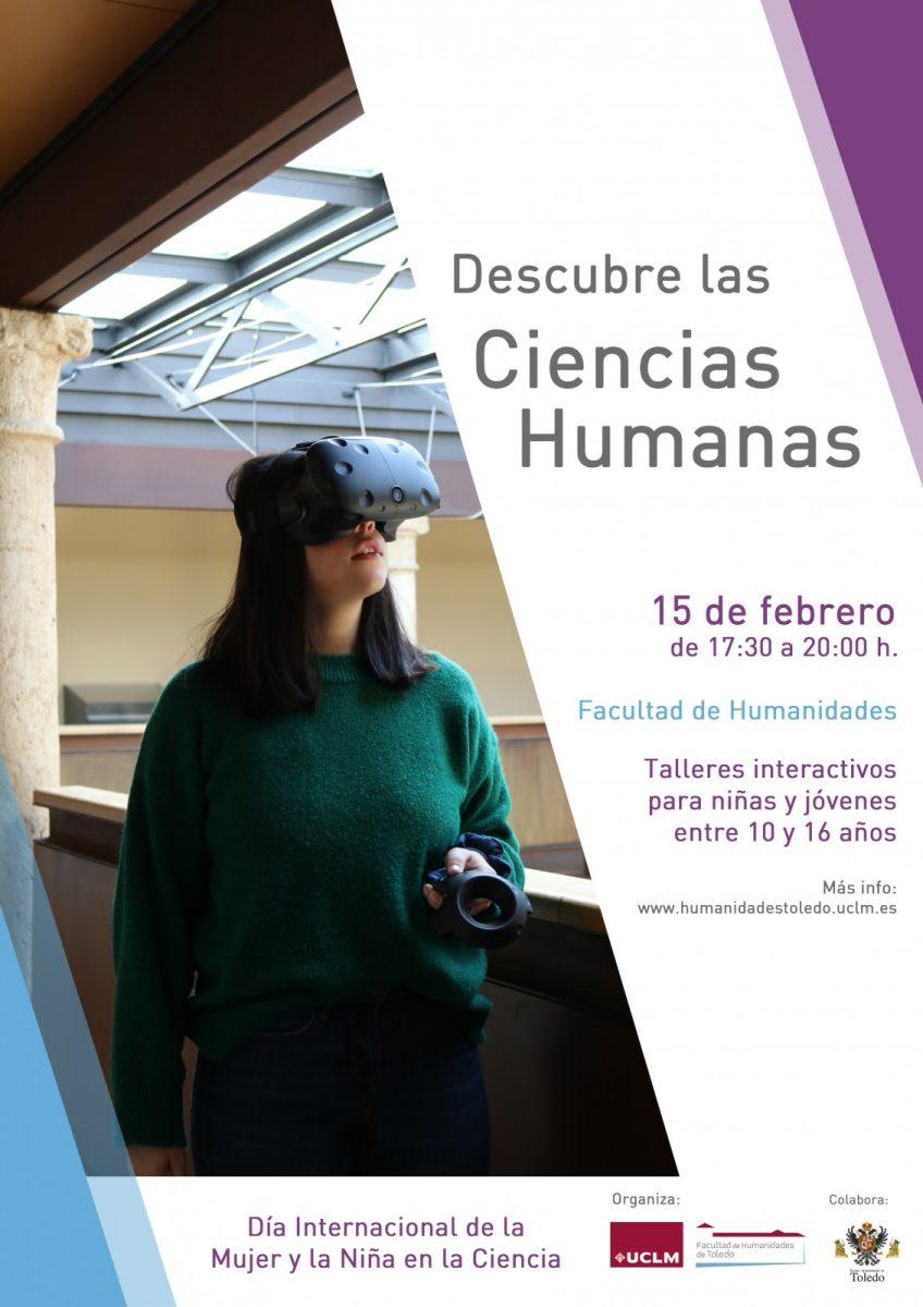 "https://www.toledo.es/wp-content/uploads/2019/02/cartel-descubre-las-ciencias-humanas-848x1200.jpg. Taller ""Descubre las Ciencias Humanas"""