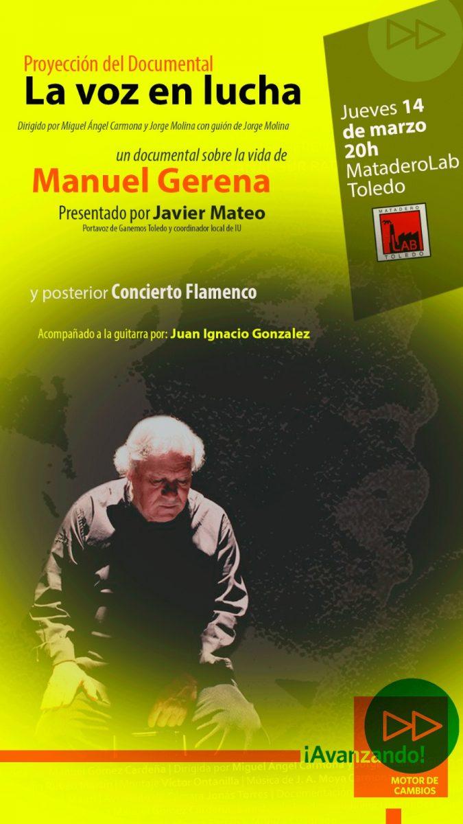 """https://www.toledo.es/wp-content/uploads/2019/02/cartel-la-voz-en-lucha-675x1200.jpg. Proyección del Documental """"LA VOZ EN LUCHA"""" sobre la vida de Manuel Gerena y concierto Flamenco."""