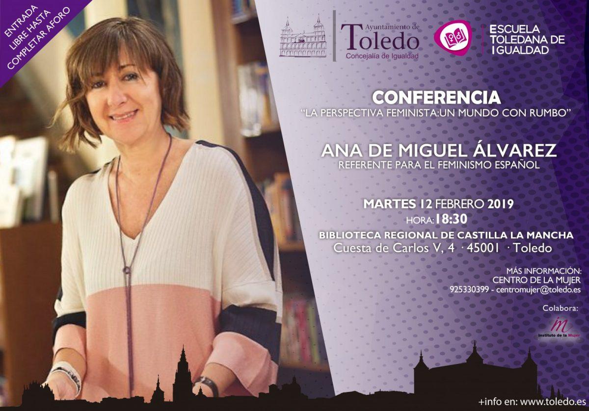 """http://www.toledo.es/wp-content/uploads/2019/02/eti-12-febrero-1200x838.jpg. Conferencia """"La perspectiva feminista: Un mundo con rumbo"""", Ana de Miguel Álvarez"""