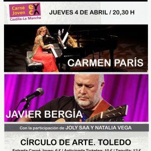 """III Encuentro de Canción de Autor: Concierto Joly Saa y Natalia Vega; Carmen París. """"París al piano"""" y Javier Bergia"""