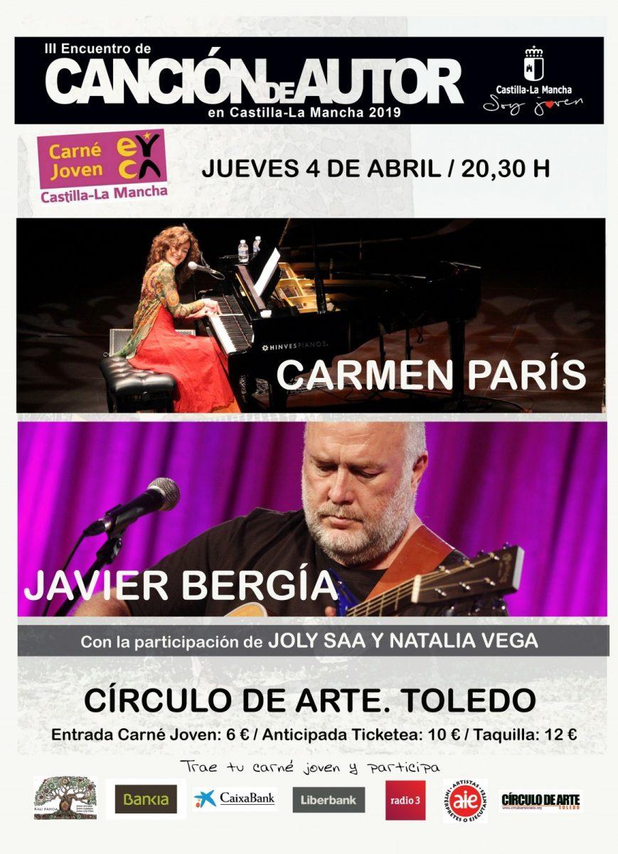 """http://www.toledo.es/wp-content/uploads/2019/02/parisbergiap-869x1200.jpg. III Encuentro de Canción de Autor: Concierto Joly Saa y Natalia Vega; Carmen París. """"París al piano"""" y Javier Bergia"""