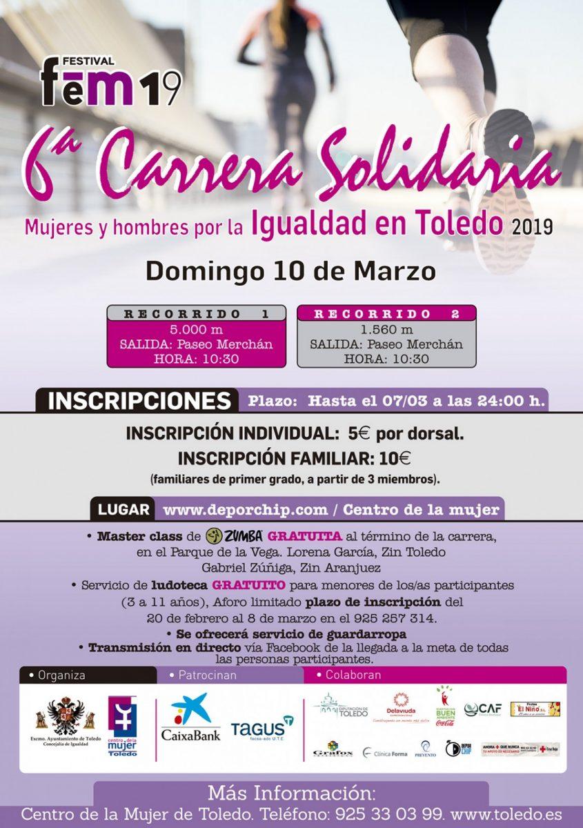 """http://www.toledo.es/wp-content/uploads/2019/03/cartel-carrera-solidaria-19-845x1200.jpg. 6ª Carrera Solidaria """"Mujeres y hombres por la igualdad en Toledo"""""""