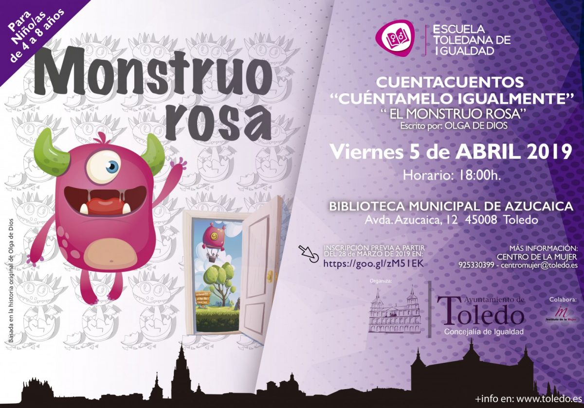 "http://www.toledo.es/wp-content/uploads/2019/03/eti-cuentacuentos-monstruo-rosa-5-abril-1200x839.jpg. ETI. CUENTACUENTOS ""CUÉNTAMELO IGUALMENTE"" 5 ABRIL 2019."