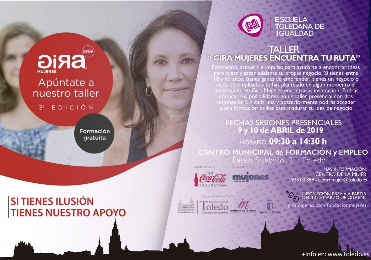 http://www.toledo.es/wp-content/uploads/2019/03/eti-gira-mujeres-1200x842.jpg. TALLER GIRA MUJERES ENCUENTRA TU RUTA. ESCUELA TOLEDANA DE IGUALDAD.