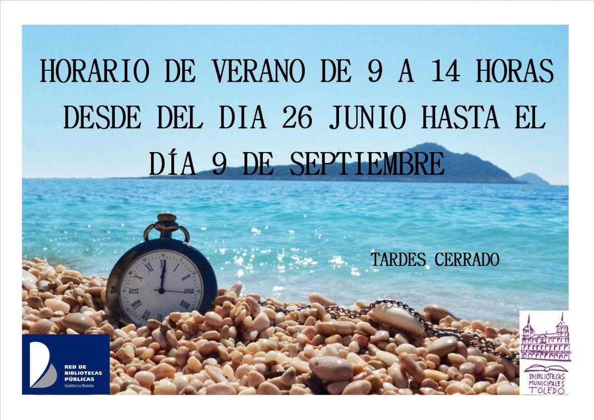 https://www.toledo.es/wp-content/uploads/2019/03/horario-de-verano-2019-1200x848.jpg. HORARIO DE VERANO DE 9:00 A 14:00 HORAS, hasta el 9 de septiembre, tardes cerrado