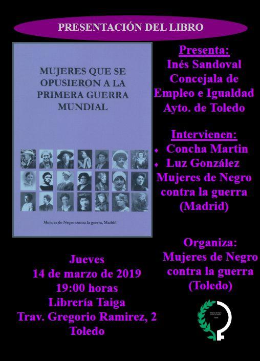 https://www.toledo.es/wp-content/uploads/2019/03/mujeres-contra-la-guerra.jpg. PRESENTACIÓN DEL LIBRO: Mujeres que se opusieron a la I Guerra Mundial