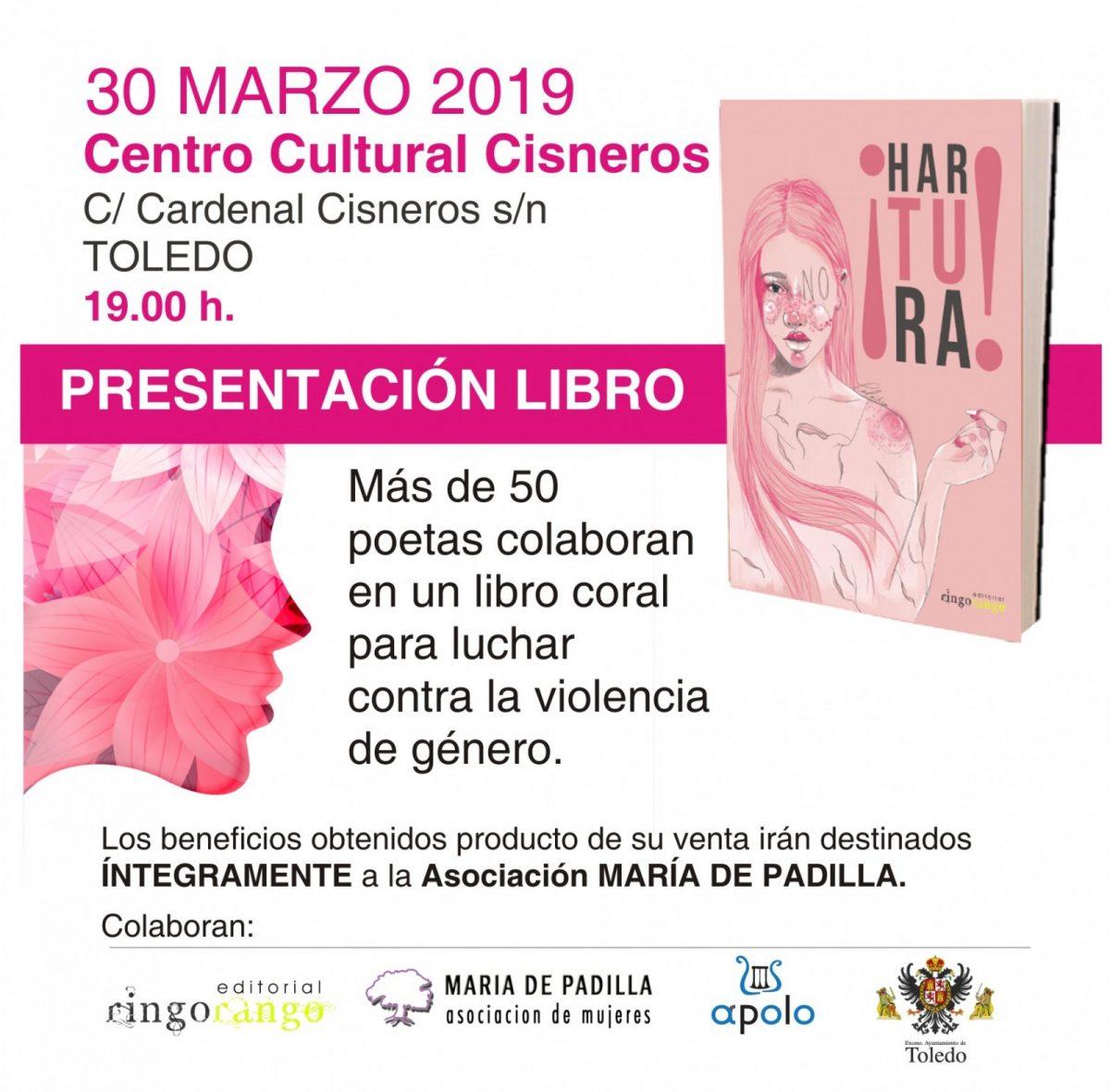 """http://www.toledo.es/wp-content/uploads/2019/03/para-la-asociacion-de-mujeres-padilla-1200x1181.jpg. PRESENTACIÓN LIBRO SOLIDARIO: """"Hartura"""""""